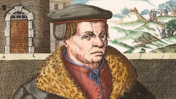 Thomas Müntzer, Kupferstich, 1608, von Christoffel van Sichem I, spätere Kolorierung.